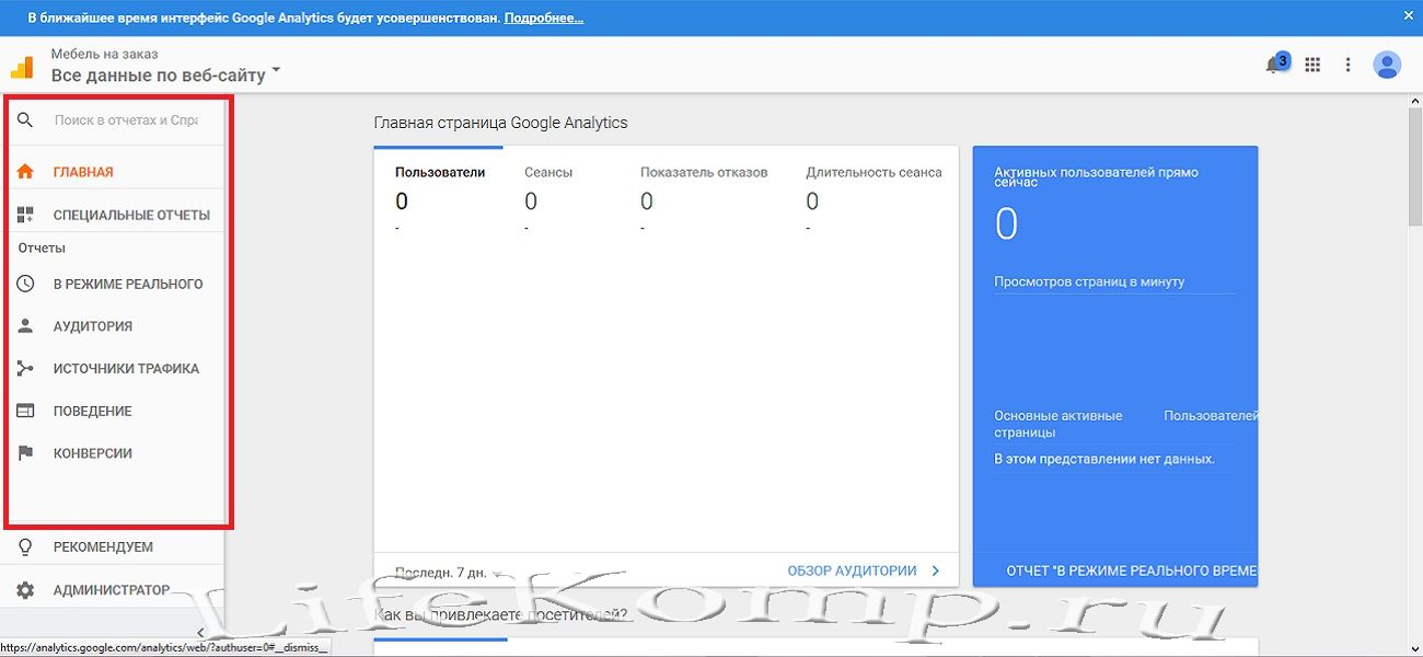 Работа в Google Analytics